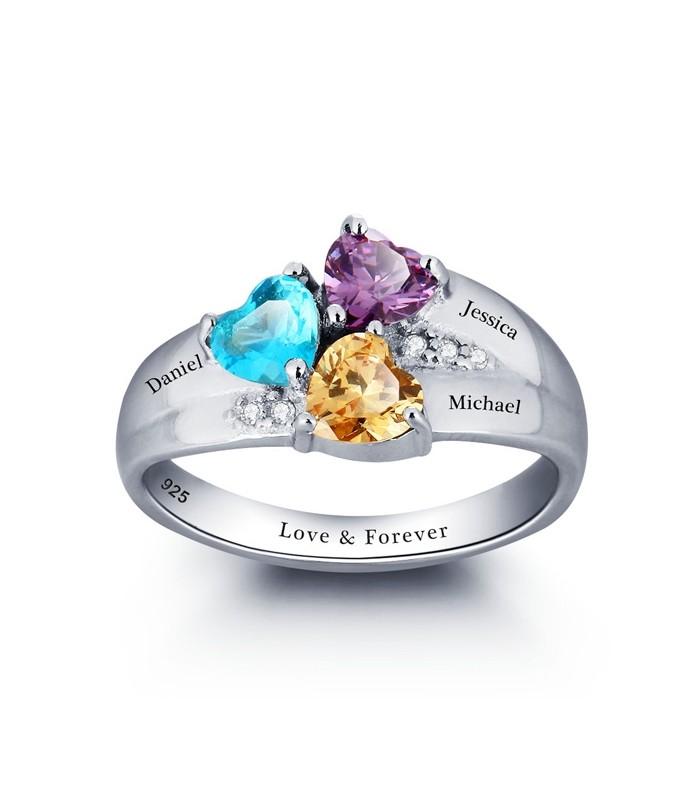 personnalis grav pierre coeur 925 famille sterling silver nom anneau bracelets gloria agostina. Black Bedroom Furniture Sets. Home Design Ideas