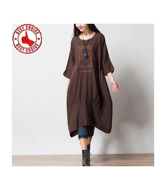 caf draps en coton robe manches trois quart la mode scandinave gloria agostina. Black Bedroom Furniture Sets. Home Design Ideas