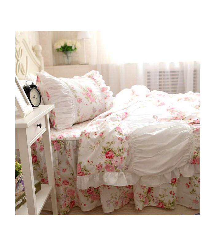 shabby chic rosa blumen bettw sche. Black Bedroom Furniture Sets. Home Design Ideas
