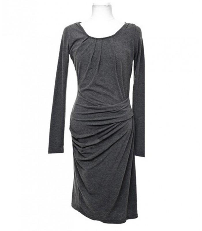grau baumwolle mit langen rmeln kleid vintage kleider. Black Bedroom Furniture Sets. Home Design Ideas