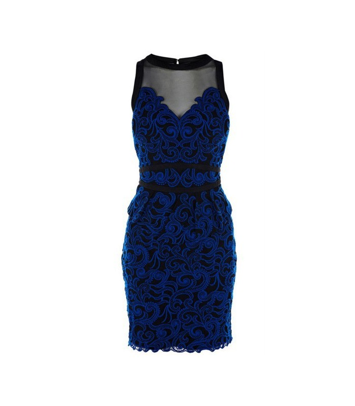 elektisierendes blaues spezial spitzenkleid haute couture kollektion gloria agostina. Black Bedroom Furniture Sets. Home Design Ideas