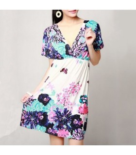 Colorful flower blue dress