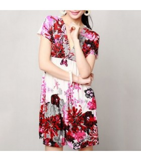 Colorful flower red dress
