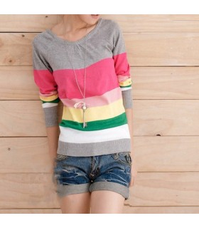 Colorful cotton rainbow  striped blouse