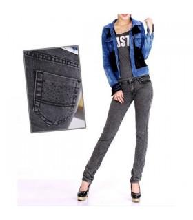 Graue Jeans mit Verzierungen