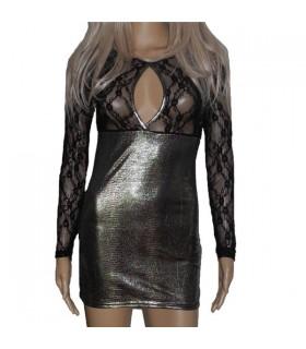 Schwarzes Kleid mit feiner Spitze