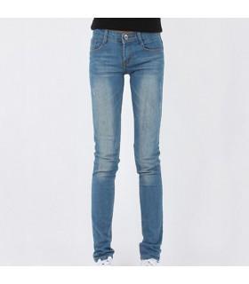 Pantaloni blu luminoso lungo elastici