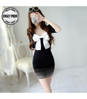 Long sleeves rhinestone dress