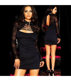 Black lash open back front corset dress