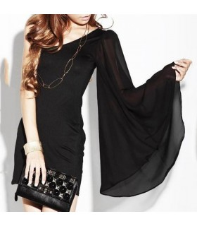 Asymmetrisches schwarzes einarm Kleid