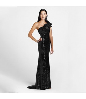 Black long mermaid sequin dress