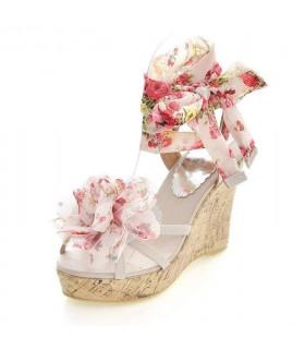 Fiore cunei sandali beige