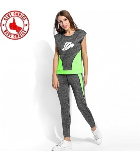 Women tracksuit grey and neon green