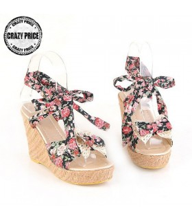 Bowknot flower wedges black  sandals