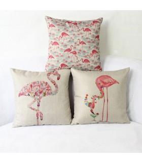 Tre copertura del cuscino fenicottero rosa