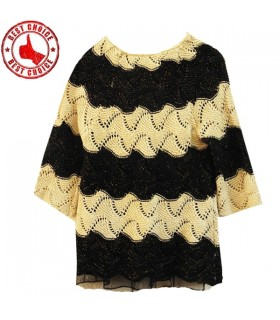 Golden sparkle crochet chic sweater