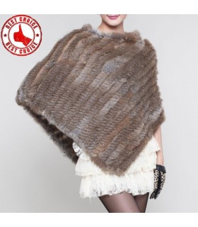Rabbit fur poncho natural brown
