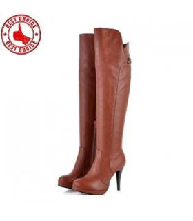Braune High Heels lange Stiefel
