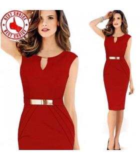 Vestito rosso bodycon sexy dettaglio oro
