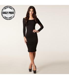 Noir manches longues super sexy robe de maille transparente