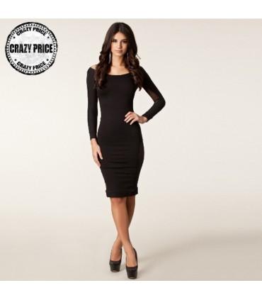 0877465c1a5c Maniche lunghe eccellenti vestito sexy nero della maglia trasparente ...