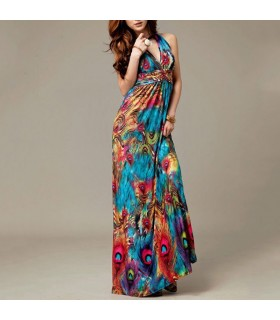 Peacock print bohemian style halter V-neck dress