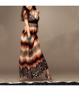 V-cou de léopard la longue robe licou
