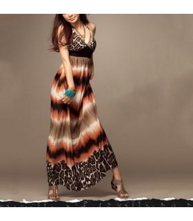 V-neck leopard halter long dress