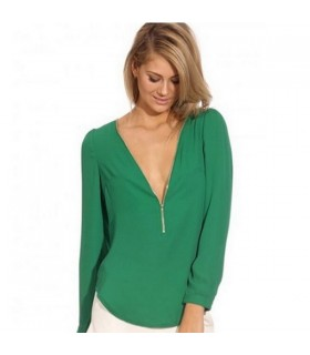 Deep v zipper neck shirt