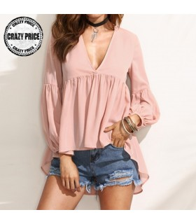 Pink chiffon long sleeves shirt