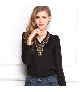 Sequined v-neck shirt
