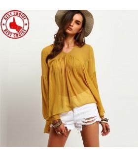 Camicia gialla maniche lunghe