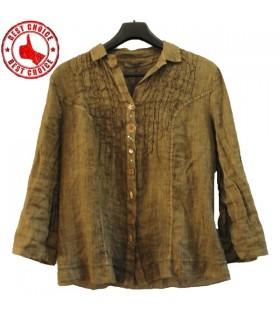 Linen khaki green designer shirt