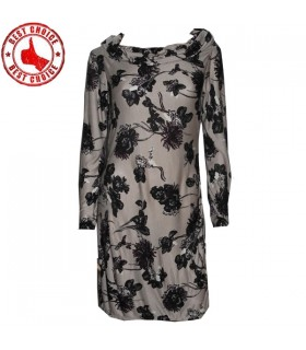 Floral Trikot Langarm Kleid