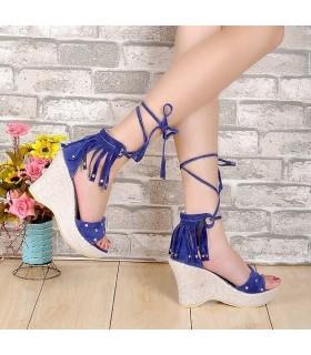 Fringe roman style blue sandals