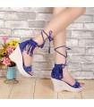 Sandales de style romain bleu de frange