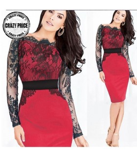 Strech red dress with black lace