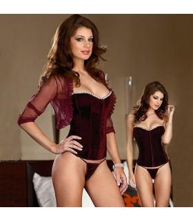 Luxueux en velours Bordeaux corset