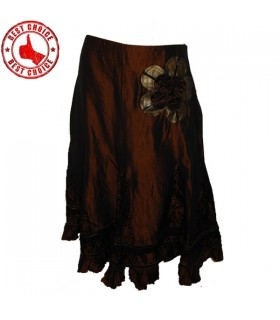 Taffeta chocolate velvet applique skirt