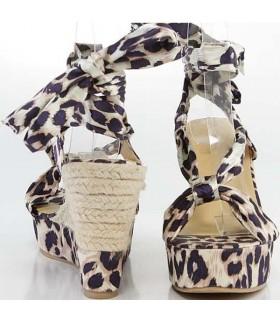 Sexy leoparden Sandale mit Keilabsatz