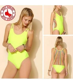 Fluorescent jaune sexy maillot de bain monokini