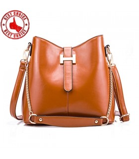 Genuine leather shoulder chain bag