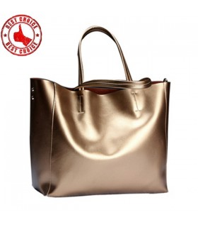 Genuine leather golden bag