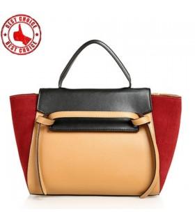 Cuir véritable sac de couleur contrastée
