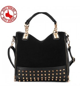 Rivet studded shoulder black bag