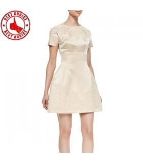 Spitze-Appliques-Satin-beige kurzes Kleid