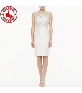 Einfache weiße Pailletten Kleid