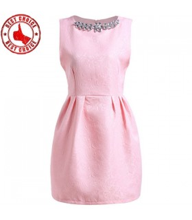 Pink chic mini jacquard dress