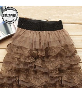 Brown tulle layered skirt