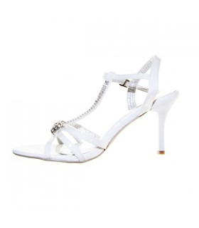 White fashion embellished beaded sandals